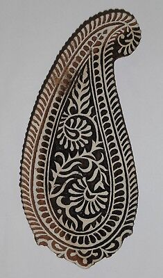 Paisley Shaped 20.5cm Indian Hand Carved Wooden Printing Block (2018-PA-11)