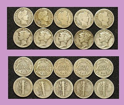 10 Piece Assortment, Barber & Mercury Dimes: $0.99 & Go!