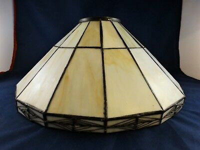 Antique Stained Leaded Glass Lamp Shade ~ Marbled Slag 1920's