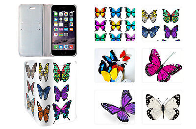 Flip Wallet PU Leather Case Cover For iPhone Models Flower Butterfly Designs 2