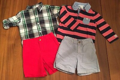 Janie and Jack & Polo Ralph Lauren Boys Shirts & Shorts 4 PC Bundle Pack
