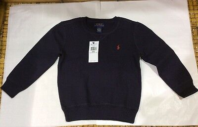 88NWT Polo Ralph Lauren Baby Toddler Boys Blue Soft Cotton Crew Sweater $55 4/4T