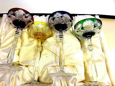 "NIB Signed Faberge Czar "" Multi- Color Champagne Saucer Glasses Set of 4"
