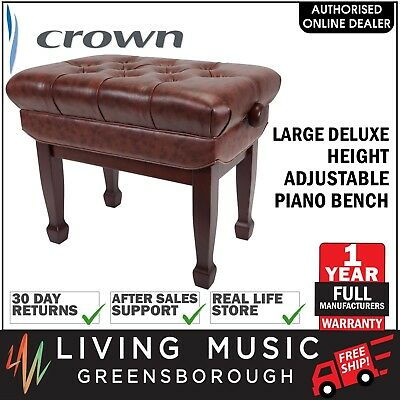 NEW Crown Deluxe Double Padded Height Adjustable Piano Keyboard Stool (Walnut)