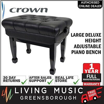 NEW Crown Deluxe Double Padded Height Adjustable Piano Keyboard Stool (Black)