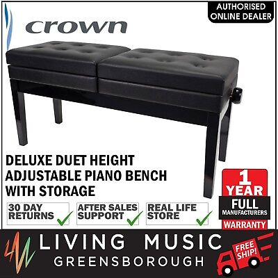 NEW Crown Deluxe Height Adjustable Duet Piano Stool Storage Compartments (Black)