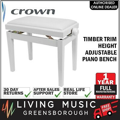 NEW Crown Timber Trim Height Adjustable Piano Keyboard Stool Bench (White)