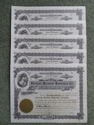 Vermont Accident Insurance Co. Run of 5 Stock Certificates - No. 179-183 - $100