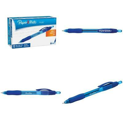 Paper Mate Ballpoint Pen Profile Retractable Bold 1.4mm Point Writing Blue 12-Ct