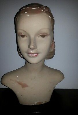 Rare Antique Mannequin Lady Chalk Millinery Store Display Head Bust Movie Star?