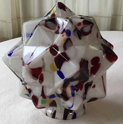 "Art Deco End of Day Multi-Color Glass Lamp Shade - 7"" x 7"""
