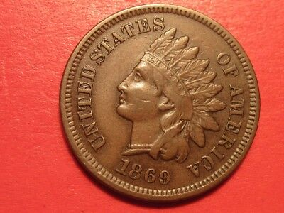 1869 Indian Head Cent ~ Genuine 1c ~ Semi-Key ~ Chocolate-Brown