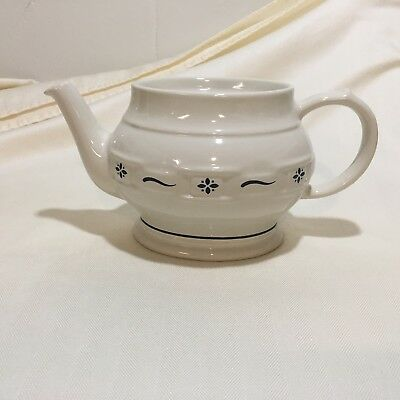 Longaberger Pottery Oval Coffee Pot-Teapot Woven Traditions Classic Blue-No Lid