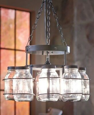 Canning 8 GlassJar Chandeliers Ceiling Light Lamp Fixture Rustic Wrought Iron