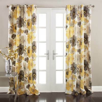 Floral Pattern Window Curtain in Yellow - Set of 2 [ID 3529936]