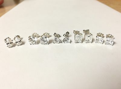 (5) Five Pairs Sterling Silver Cubic Zirconia Earrings Lot Wholesale