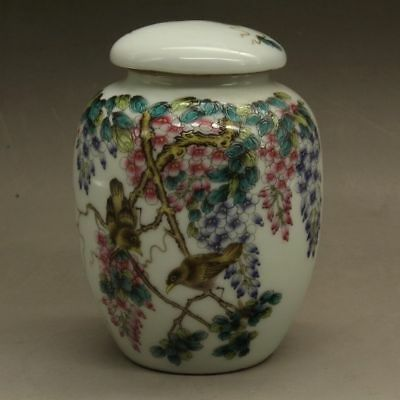 Chinese old Hand painted flower famille rose porcelain tea caddy