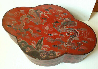 Large Chinese Red Lacquer Covered  Box w/ Incised Dragons 15 x 9.5""