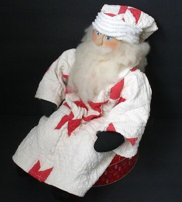 """LARGE 18"""" Vintage Stuffed Santa Doll, Antique Red White Quilt, Christmas, OOAK"""