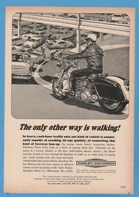 1965 Harley Davidson Police Solos Motorcycles Highway Impressive Art Print Ad