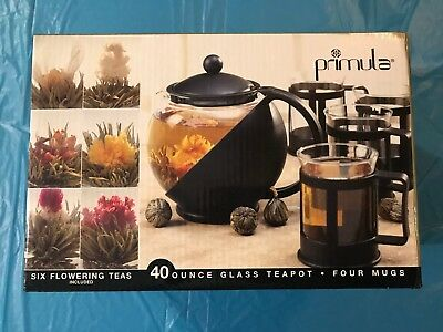 Primula 40 Ounce Glass Teapot 4 Glass Mugs and 6 Flowering Teas (New Open Box)