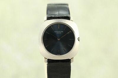Vintage Patek Philippe New Old Stock 18k White Gold With Box  Ref 3543 Blue Dial