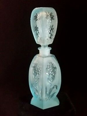 "VTG Perfume Bottle Tiffany Blue Frosted Pressed Glass Floral 5.5"" 1940s"