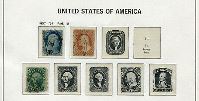 1857-1861 USA.  Part set of 3 USED.
