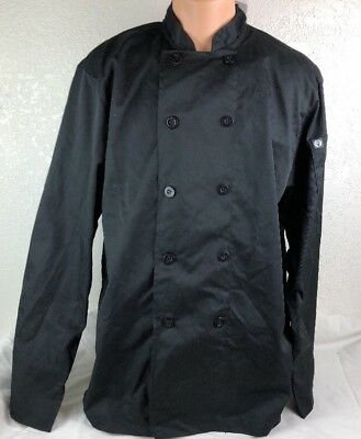 New Mens Large Chef Works Coat Black Shirt Jacket Peacoat Cook Restaurant Unifor