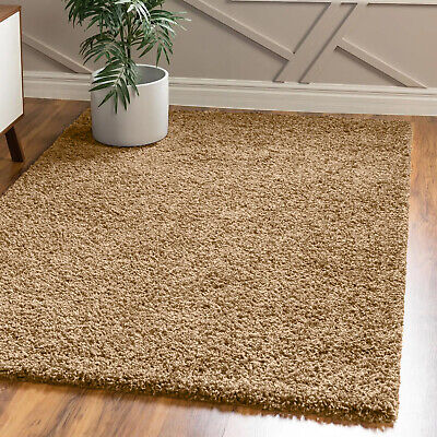 Soft Shaggy Thick Plain Beige Rug Non Shed 5cm Thick Pile Modern Area Rugs New