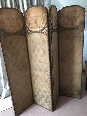 Antique Late 18th Century/early 19th Century French Silk Dressing Screen