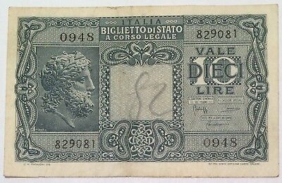 Italy 10 Vale Dieci Lire 1944 Banknote Foreign Paper Money Italia
