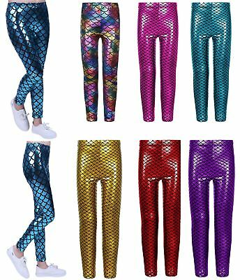 Girls Shinny Mermaid Legging Children Fish Scale Stretchy Slim Fit Legging Pants