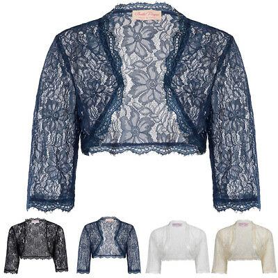 Women's Ladies Wedding Bridal Bridesmaid 3/4 Sleeve Flora Lace Shrug Bolero Size
