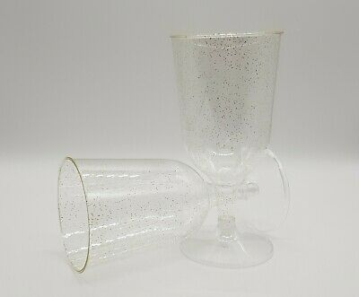 Gold Glitter Clear Plastic Disposable Party Wine Glasses - XMAS - (2P)