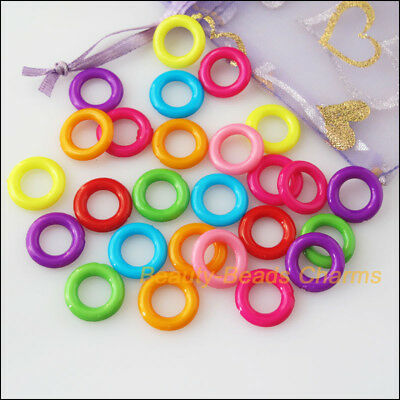 100Pcs Mixed Plastic Acrylic Round Circle Spacer Beads Charms 14mm