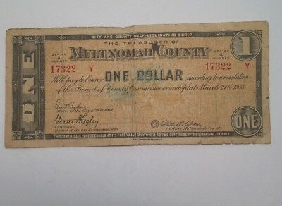 1933 MULTNOMAH COUNTY (PORTLAND), OREGON, 1 Dollar DEPRESSION SCRIP