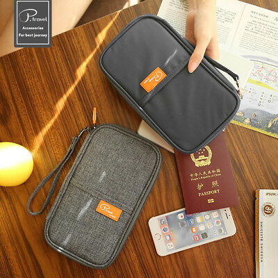 Travel Wallet Full Closure Zipped Bag Document Organiser Passport Tickets Holder