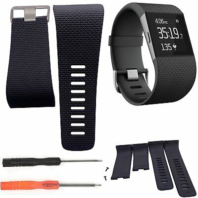 Replacement Watch Band Strap Tracker Wristband With Tools For Fitbit Surge Black