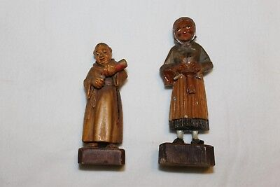 Lot 2 Vintage Hand Carved Wood Figurines Drinking Monk Knitting Lady Switzerland