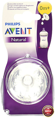Avent Nipple Natural Newborn Flow Nipples BPA Free 0 month+ 2 Count Philips