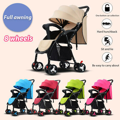 Foldable Elastic Baby Stroller Buggy Pram Travel Child Pushchair With Awning New