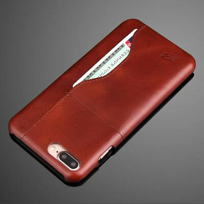 Slim Genuine Real Leather Case Card Holder Back Skin Cover For Samsung/iPhone