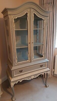 OLD FRENCH DISPLAY CABINET - ARMOIRE - CUPBOARD - Grey with white detailing