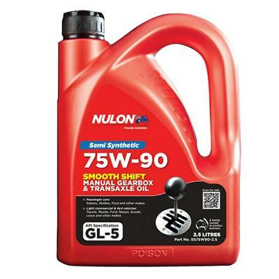 Nulon 75W-90 Smooth Shift Manual Gearbox and Transaxle Oil 2.5L SS75W90-2.5 Free