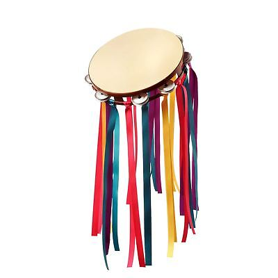 Adult Ladies Mens 60s Flower Power Hippy Tambourine Music Instrument Accessory