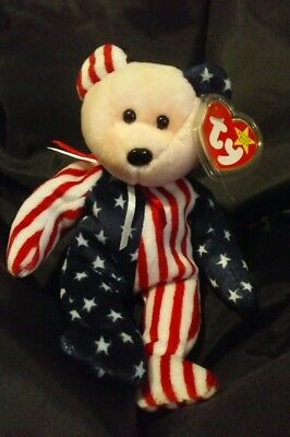Spangle TY Beanie Baby Pink Face Patriotic America Bear MWMT DOB June 14 1999