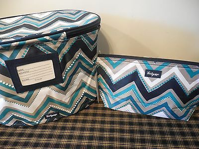 Thirty One Family Fun Thermal & Medium Thermal Zipper Pouch - Dotty Chevron New!