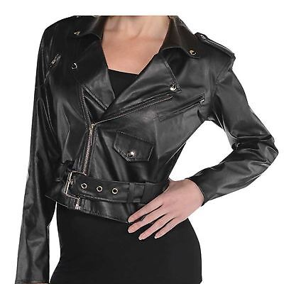 Adult Ladies 50s Cropped Faux Leather Jacket Sandy Grease Fancy Dress Costume