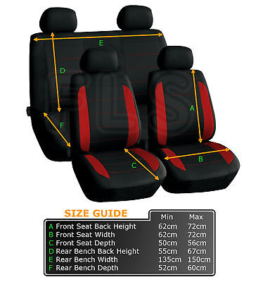 Red Car Seat Covers Protectors Universal washable Pet full set front rear UK